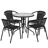 28 Round Glass Metal Table with Black Rattan Edging and 4 Black Rattan Stack Chairs [TLH-087RD-037