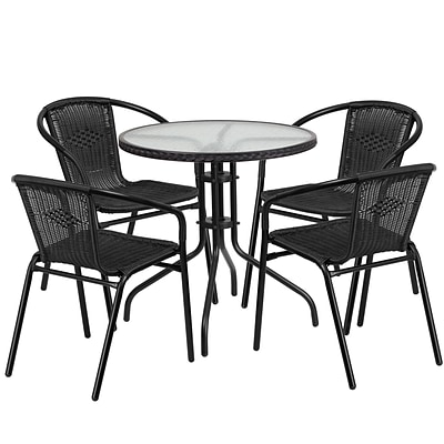 28 Round Glass Metal Table with Black Rattan Edging and 4 Black Rattan Stack Chairs [TLH-087RD-037BK4-GG]