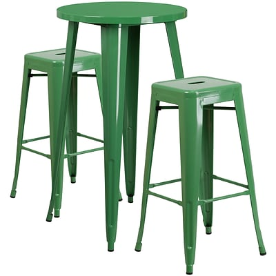 24 Round Green Metal Indoor-Outdoor Bar Table Set with 2 Square Seat Backless Barstools [CH-51080BH-2-30SQST-GN-GG]