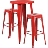 24 Round Red Metal Indoor-Outdoor Bar Table Set with 2 Square Seat Backless Barstools (CH-51080BH-
