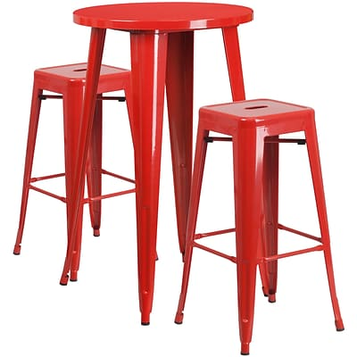 24 Round Red Metal Indoor-Outdoor Bar Table Set with 2 Square Seat Backless Barstools (CH-51080BH-2-30SQST-RED-GG)