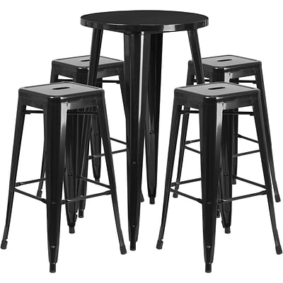24 Round Black Metal Indoor-Outdoor Bar Table Set with 4 Square Seat Backless Barstools (CH-51080BH-4-30SQST-BK-GG)