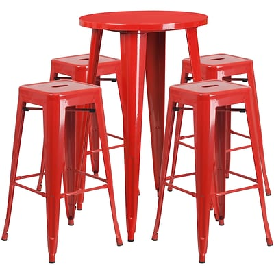 24 Round Red Metal Indoor-Outdoor Bar Table Set with 4 Square Seat Backless Barstools [CH-51080BH-4-30SQST-RED-GG]