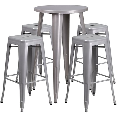 24 Round Silver Metal Indoor-Outdoor Bar Table Set with 4 Square Seat Backless Barstools [CH-51080BH-4-30SQST-SIL-GG]