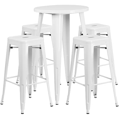 24 Round White Metal Indoor-Outdoor Bar Table Set with 4 Square Seat Backless Barstools [CH-51080BH-4-30SQST-WH-GG]