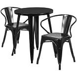 24 Round Black Metal Indoor-Outdoor Table Set with 2 Arm Chairs [CH-51080TH-2-18ARM-BK-GG]