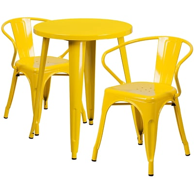 24 Round Yellow Metal Indoor-Outdoor Table Set with 2 Arm Chairs [CH-51080TH-2-18ARM-YL-GG]