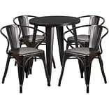 24 Round Black-Antique Gold Metal Indoor-Outdoor Table Set with 4 Arm Chairs (CH-51080TH-4-18ARM-B