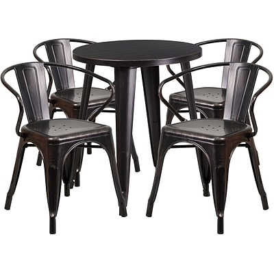 24 Round Black-Antique Gold Metal Indoor-Outdoor Table Set with 4 Arm Chairs (CH-51080TH-4-18ARM-BQ-GG)