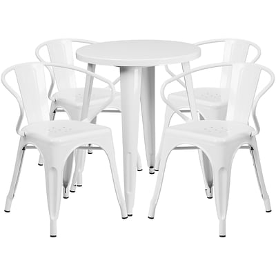 24 Round White Metal Indoor-Outdoor Table Set with 4 Arm Chairs (CH-51080TH-4-18ARM-WH-GG)