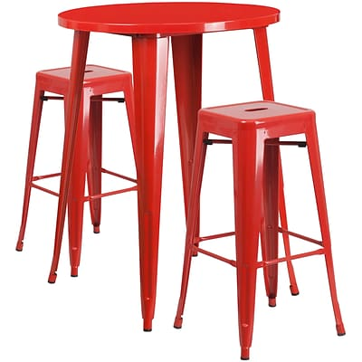 30 Round Red Metal Indoor-Outdoor Bar Table Set with 2 Square Seat Backless Barstools [CH-51090BH-2-30SQST-RED-GG]