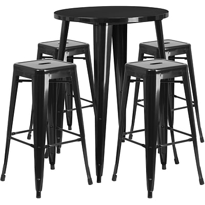 30 Round Black Metal Indoor-Outdoor Bar Table Set with 4 Square Seat Backless Barstools [CH-51090BH-4-30SQST-BK-GG]