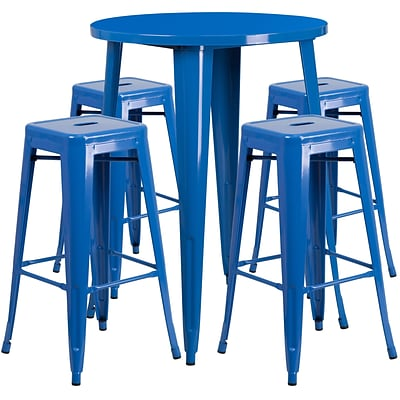 30 Round Blue Metal Indoor-Outdoor Bar Table Set with 4 Square Seat Backless Barstools [CH-51090BH-4-30SQST-BL-GG]
