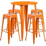 30 Round Orange Metal Indoor-Outdoor Bar Table Set with 4 Square Seat Backless Barstools [CH-51090