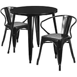 30 Round Black Metal Indoor-Outdoor Table Set with 2 Arm Chairs [CH-51090TH-2-18ARM-BK-GG]