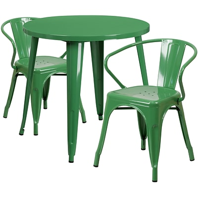 30 Round Green Metal Indoor-Outdoor Table Set with 2 Arm Chairs (CH-51090TH-2-18ARM-GN-GG)