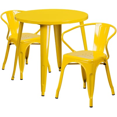 30 Round Yellow Metal Indoor-Outdoor Table Set with 2 Arm Chairs [CH-51090TH-2-18ARM-YL-GG]