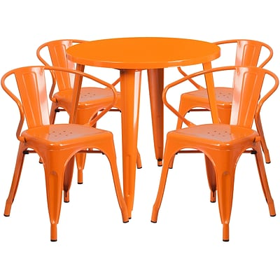30 Round Orange Metal Indoor-Outdoor Table Set with 4 Arm Chairs (CH-51090TH-4-18ARM-OR-GG)