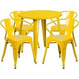 30 Round Yellow Metal Indoor-Outdoor Table Set with 4 Arm Chairs [CH-51090TH-4-18ARM-YL-GG]