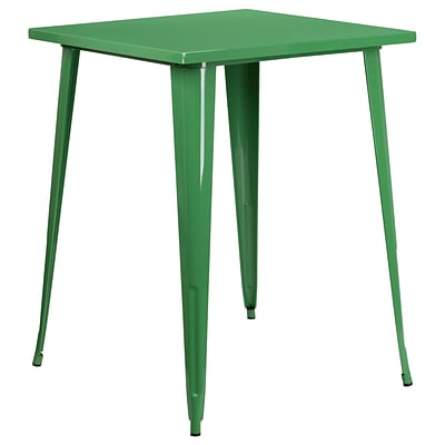 31.5 Square Bar Height Green Metal Indoor-Outdoor Table [CH-51040-40-GN-GG]