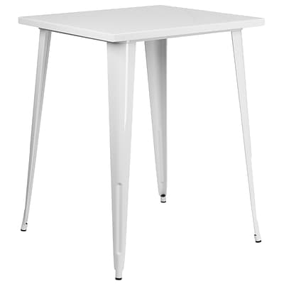 31.5 Square Bar Height White Metal Indoor-Outdoor Table (CH-51040-40-WH-GG)