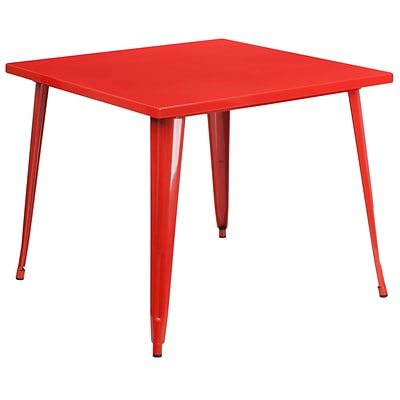 35.5 Square Red Metal Indoor-Outdoor Table [CH-51050-29-RED-GG]