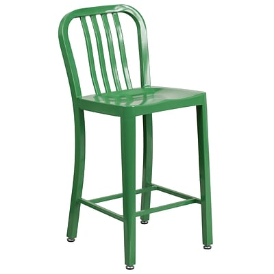24 High Green Metal Indoor-Outdoor Counter Height Stool with Vertical Slat Back [CH-61200-24-GN-GG]