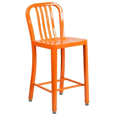 24 High Orange Metal Indoor-Outdoor Counter Height Stool with Vertical Slat Back [CH-61200-24-OR-GG]
