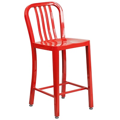 24 High Red Metal Indoor-Outdoor Counter Height Stool with Vertical Slat Back [CH-61200-24-RED-GG]