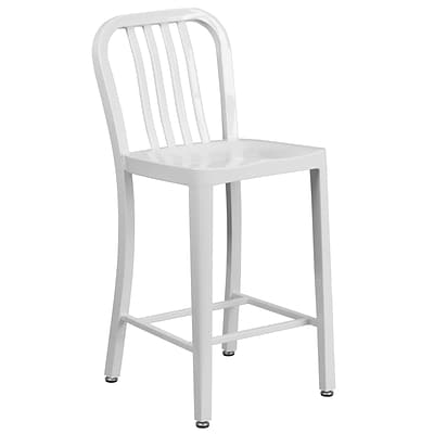 24 High White Metal Indoor-Outdoor Counter Height Stool with Vertical Slat Back [CH-61200-24-WH-GG]