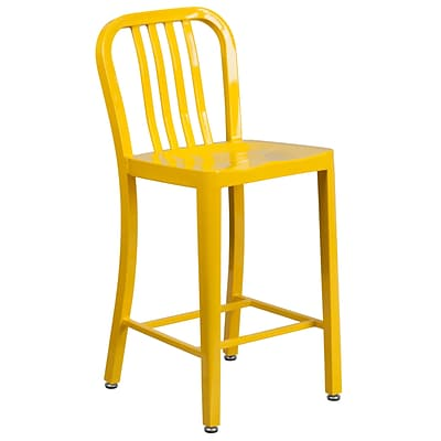 24 High Yellow Metal Indoor-Outdoor Counter Height Stool with Vertical Slat Back [CH-61200-24-YL-GG]