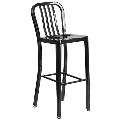 30 High Black Metal Indoor-Outdoor Barstool with Vertical Slat Back [CH-61200-30-BK-GG]