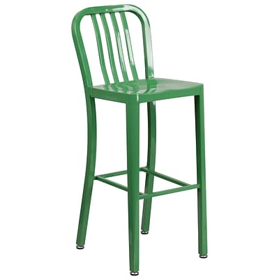 30 High Green Metal Indoor-Outdoor Barstool with Vertical Slat Back (CH-61200-30-GN-GG)