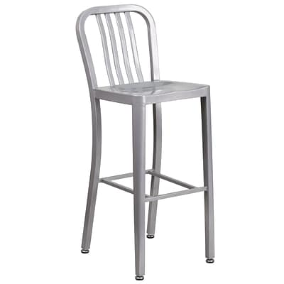 30 High Silver Metal Indoor-Outdoor Barstool with Vertical Slat Back [CH-61200-30-SIL-GG]