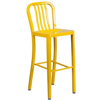 30 High Yellow Metal Indoor-Outdoor Barstool with Vertical Slat Back [CH-61200-30-YL-GG]