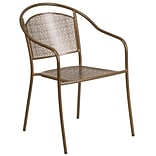 Gold Indoor-Outdoor Steel Patio Arm Chair with Round Back [CO-3-GD-GG]