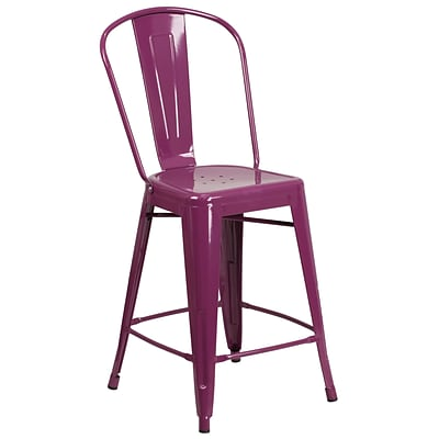 24 High Purple Metal Indoor-Outdoor Counter Height Stool with Back [ET-3534-24-PUR-GG]