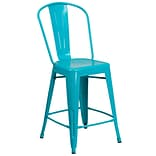24 High Crystal Teal-Blue Metal Indoor-Outdoor Counter Height Stool with Back [ET-3534-24-CB-GG]