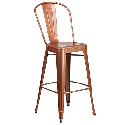 30 High Copper Metal Indoor-Outdoor Barstool with Back (ET-3534-30-POC-GG)