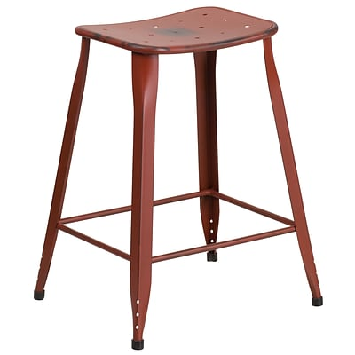 24 High Distressed Kelly Red Metal Indoor-Outdoor Counter Height Stool (ET-3604-24-DISRED-GG)