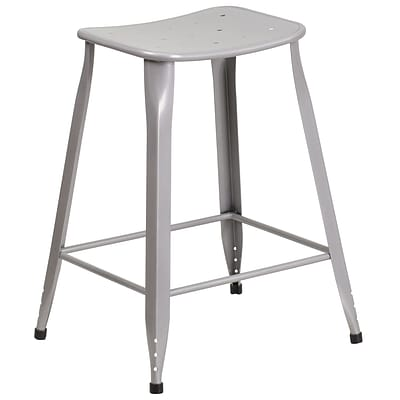 24 High Silver Metal Indoor-Outdoor Counter Height Stool (ET-3604-24-SIL-GG)