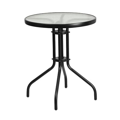 23.75 Round Tempered Glass Metal Table [TLH-070-1-GG]