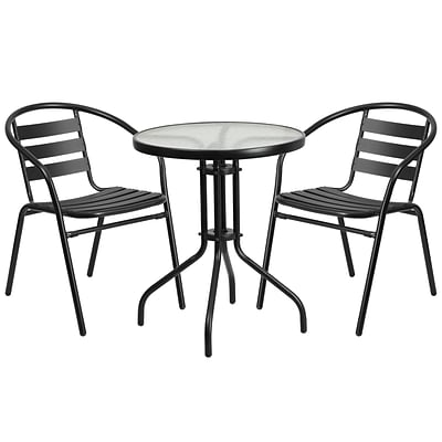 23.75 Round Glass Metal Table with 2 Black Metal Aluminum Slat Stack Chairs (TLH-071RD-017CBK2-GG)