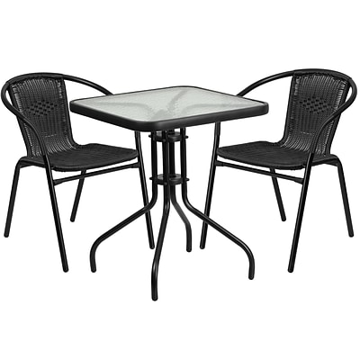 23.5 Square Glass Metal Table with 2 Black Rattan Stack Chairs [TLH-0731SQ-037BK2-GG]