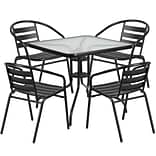 31.5 Square Glass Metal Table with 4 Black Metal Aluminum Slat Stack Chairs [TLH-0732SQ-017CBK4-GG