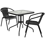 28 Square Glass Metal Table with Black Rattan Edging and 2 Black Rattan Stack Chairs [TLH-073SQ-03
