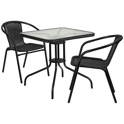 28 Square Glass Metal Table with Black Rattan Edging and 2 Black Rattan Stack Chairs [TLH-073SQ-037BK2-GG]