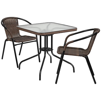 28 Square Glass Metal Table with Dark Brown Rattan Edging and 2 Dark Brown Rattan Stack Chairs [TLH-073SQ-037BN2-GG]