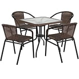 28 Square Glass Metal Table with Dark Brown Rattan Edging and 4 Dark Brown Rattan Stack Chairs (TL