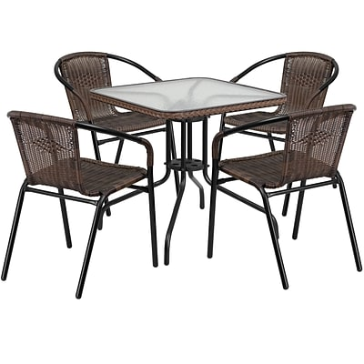 28 Square Glass Metal Table with Dark Brown Rattan Edging and 4 Dark Brown Rattan Stack Chairs (TLH-073SQ-037BN4-GG)